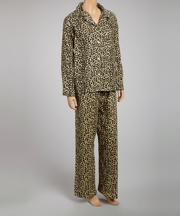 Brown Leopard Flannel Pajamas - Women & Plus