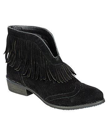 Black Fringe Theory Ankle Boot