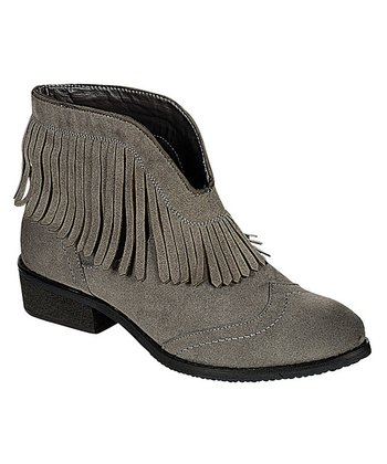 Gray Fringe Theory Ankle Boot