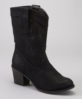 Black Perforated Leighton Boot