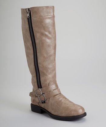 Taupe Zipper Alba Boot