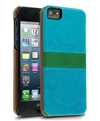 Teal Stitch Leather Case for iPhone 5