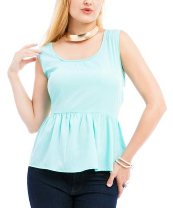 Aqua Peplum Sleeveless Top - Plus