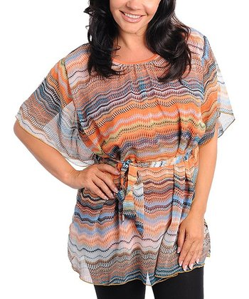 Orange & Gray Zigzag Dolman Tunic - Plus