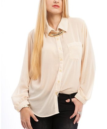 Beige Semi-Sheer Button-Up - Plus