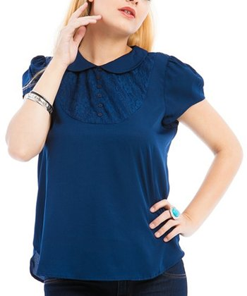 Navy Peter Pan Short-Sleeve Top - Plus
