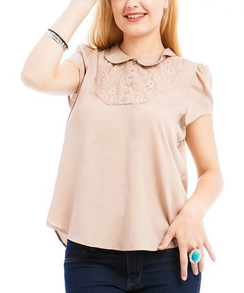 Coffee Peter Pan Short-Sleeve Top - Plus