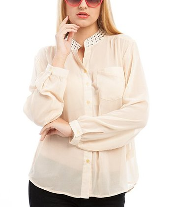 Beige Sheer Studded Button-Up - Plus