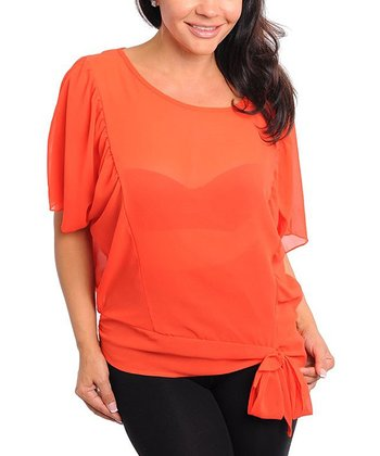 Coral Sheer Ruffle Sleeve Scoop Neck Top - Plus