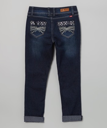 Medium Wash Cuff Skinny Jeans - Girls
