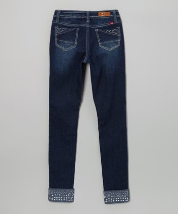 Medium Wash Pearl Cuff Skinny Jeans - Girls