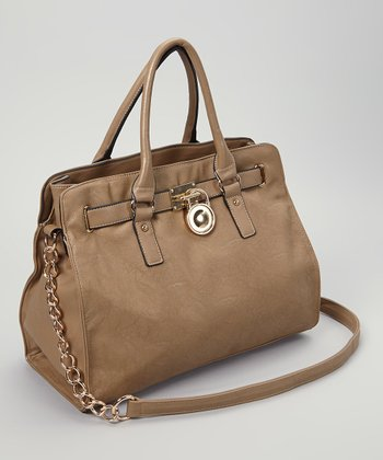 Cream Gathered Lock Tote