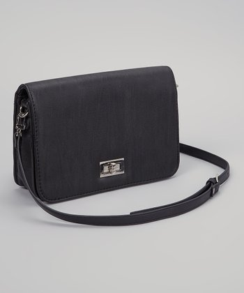 Black Turn-Lock Crossbody Bag