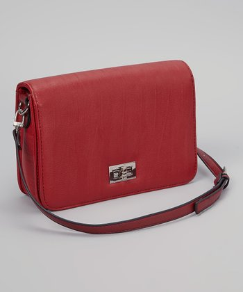 Red Turn-Lock Crossbody Bag