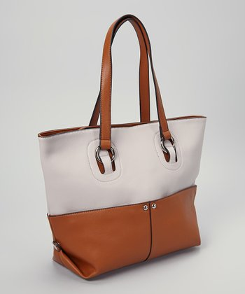 Cream & Tan Two-Tone Zipper Tote