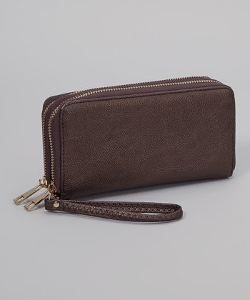 Coffee Pebble Double Zipper Wallet