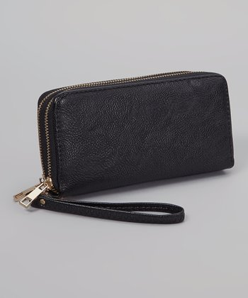 Black Pebble Double Zipper Wallet