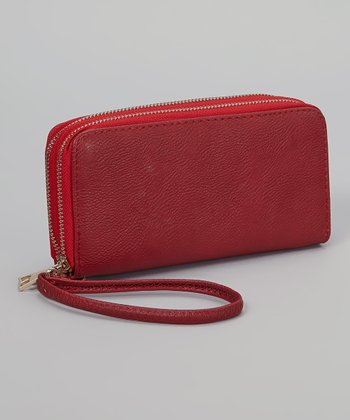 Red Pebble Double Zipper Wallet