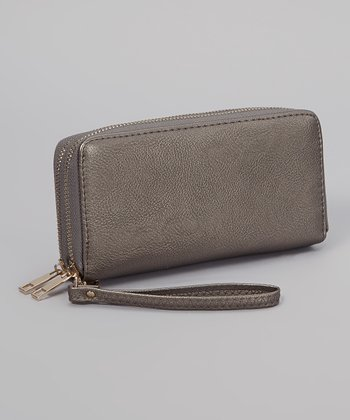 Gray Pebble Double Zipper Wallet