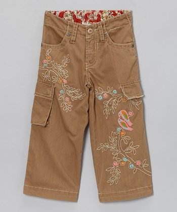 Brown Birds & Tree Cargo Pants - Infant & Girls