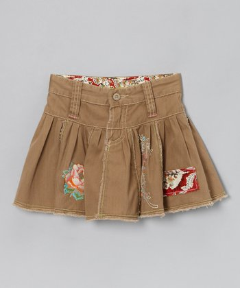 Brown Bird Pleated Skirt - Girls