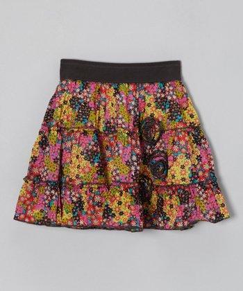 Pink & Green Tiny Flowers Skirt - Toddler & Girls