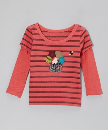 Pink Fall Flower Stripe Layered Tee - Toddler