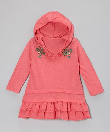 Pink Fall Leaves Hooded Tunic - Girls