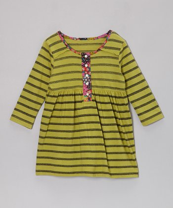 Green Marisa Stripe Dress - Girls