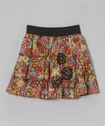 Red & Green Nature Flower Skirt - Toddler & Girls