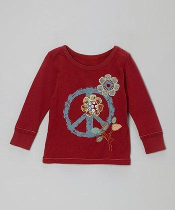 Red Folk Flower Tee - Toddler & Girls