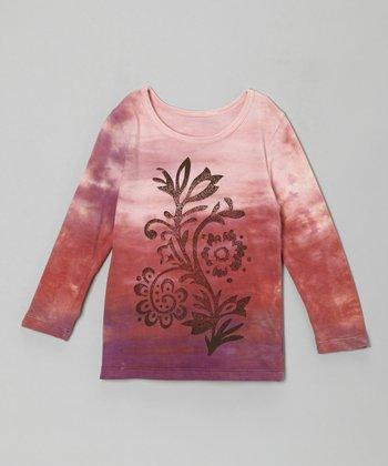 Pink Floral Distressed Tee - Girls