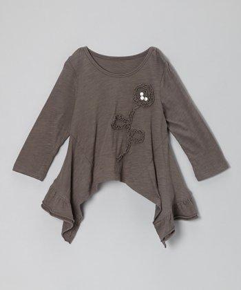 Gray Collete Sidetail Top - Toddler & Girls