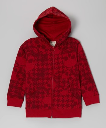 Crimson Houndstooth Fleece Zip-Up Hoodie - Boys