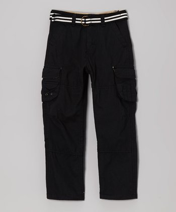 True Black Belted Cargo Pants - Boys