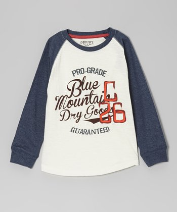 Heather Ecru 'Blue Mountain Dry Goods' Raglan Tee - Boys