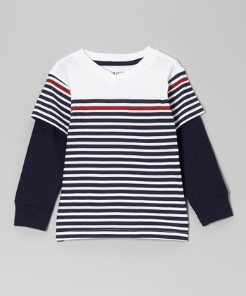 Pure White Stripe Layered Tee - Toddler & Boys