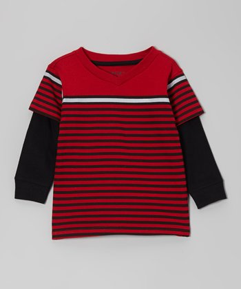 Crimson Stripe Layered Tee - Toddler & Boys