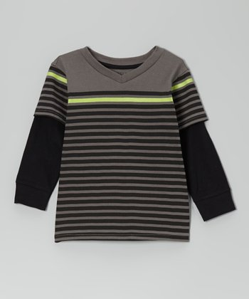 Pavement Gray Stripe Layered Tee - Toddler & Boys