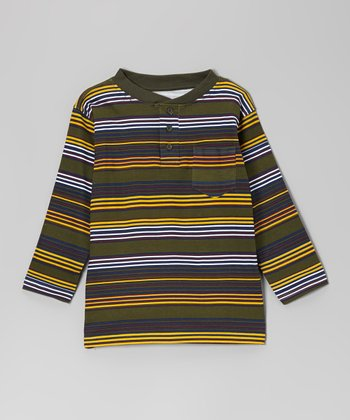 Olive Leaf Stripe Henley - Boys