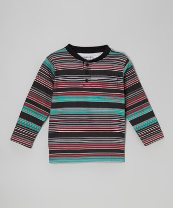 True Black Stripe Henley - Boys