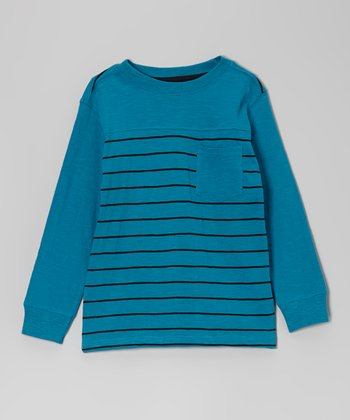 Teal Stripe Pocket Long-Sleeve Tee - Toddler & Boys