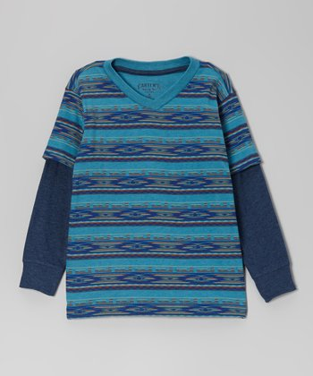 Heather Turquoise Aztec Layered Tee - Boys