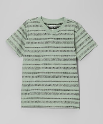Aztec Green Distressed Stripe Tee - Boys