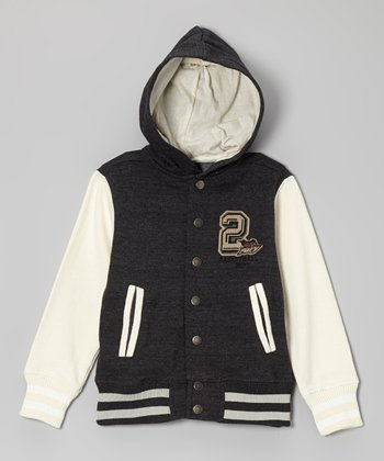 True Black Hooded Varsity Jacket - Toddler