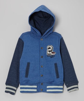 Dusk Blue Hooded Varsity Jacket - Toddler