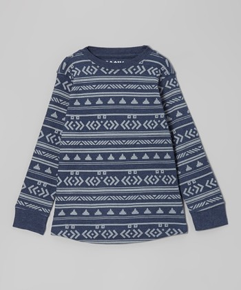 Heather Navy Geometric Thermal Tee - Boys