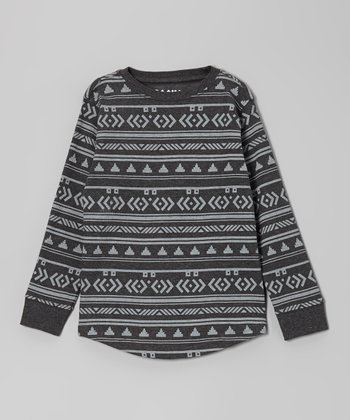 Heather Charcoal Geometric Thermal Tee - Boys