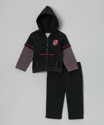 Black Stripe Fleece Zip-Up Hoodie & Pants - Infant & Toddler