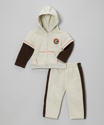 Cream & Brown Fleece Zip-Up Hoodie & Pants - Infant & Toddler